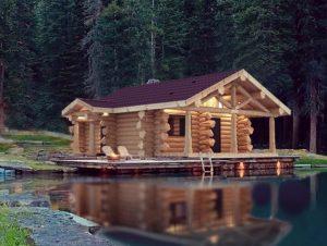 Бревенчатая баня в диком стиле в канадскую рубку сотчан-миниатюра