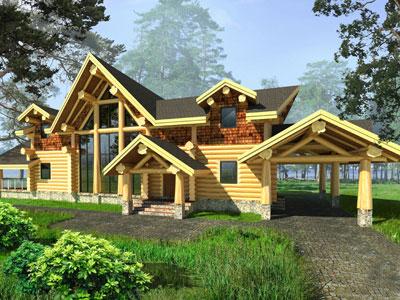 """Гибридный бревенчатый дом по проекту """"Гром""""_мини"""