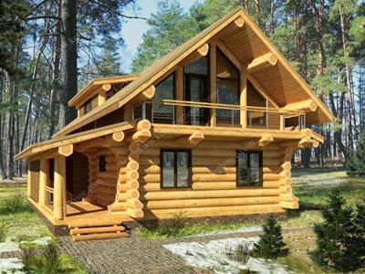 Общий вид бревенчатого дома гибридного типа с первым рубленым этажом и мансардным каркасным в технологию Post&Beam.