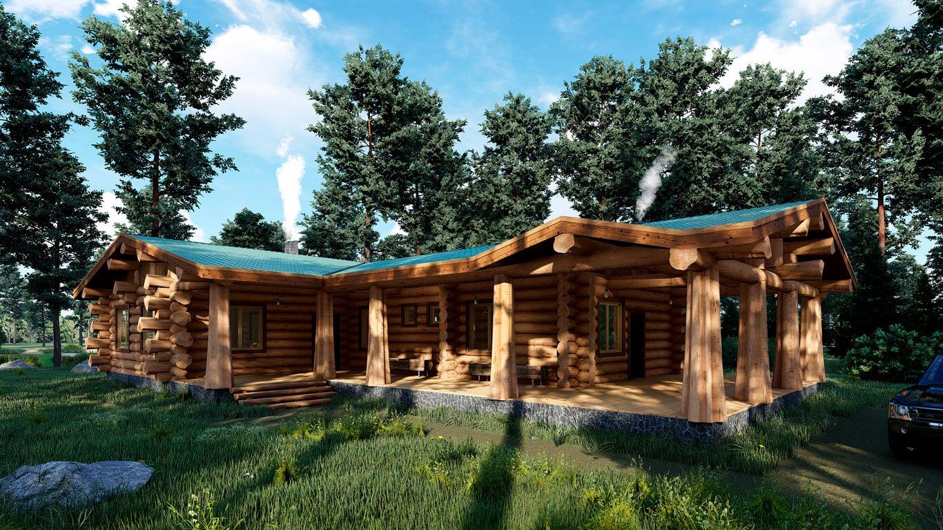 Бревенчатый дом в диком стиле в канадскую рубку виктор